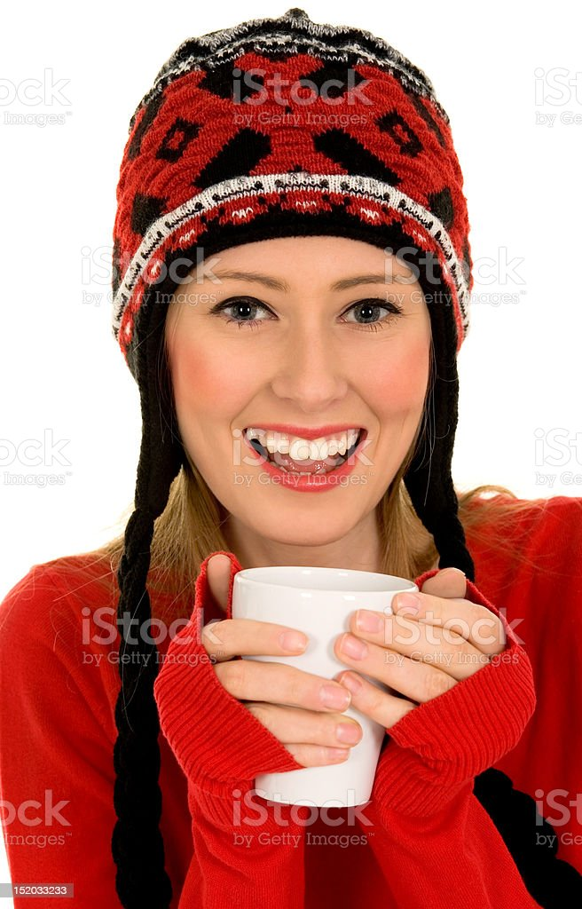 Woman with hot drink royalty-free stock photo