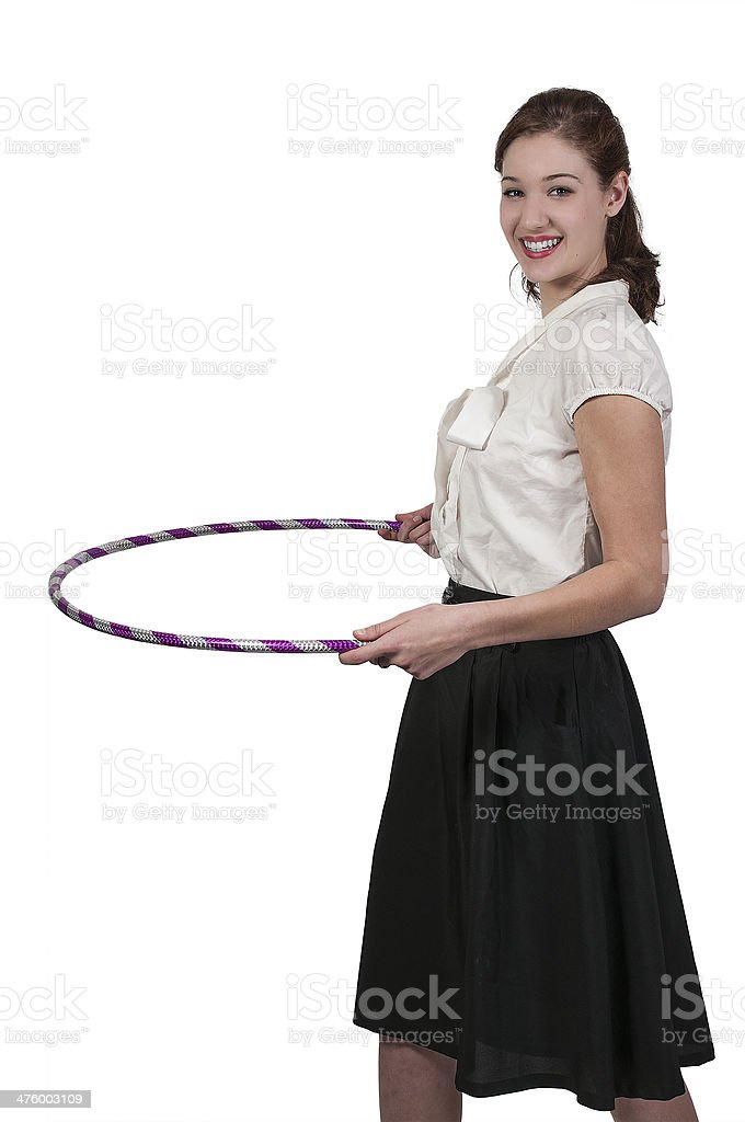 Woman with Hula Hoop stock photo