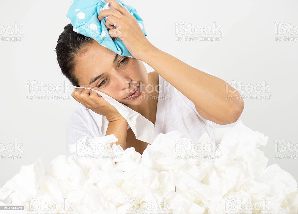 Woman With Ice Pack stock photo