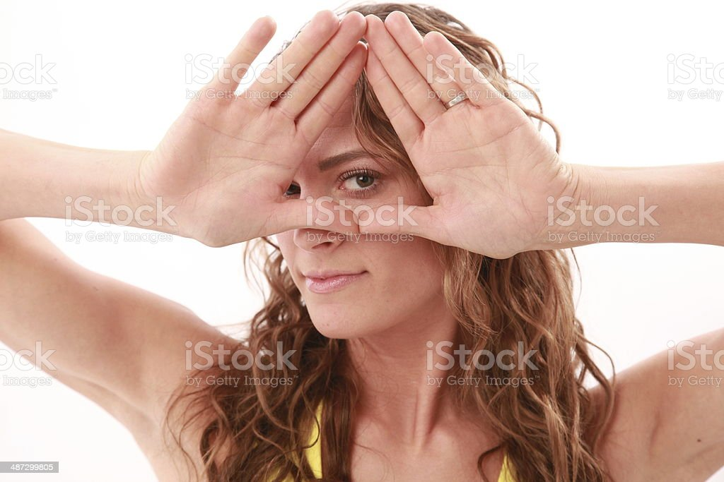 woman with illuminati sign stock photo