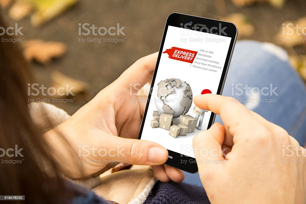 woman with job application phone in the park stock photo