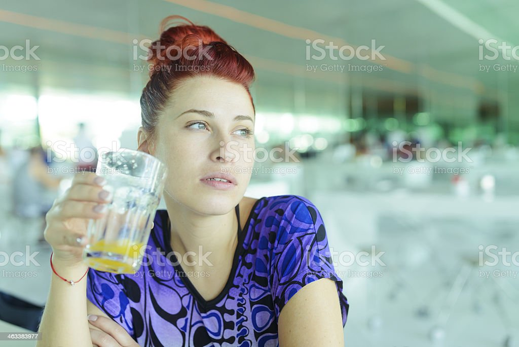 woman with juice royalty-free stock photo