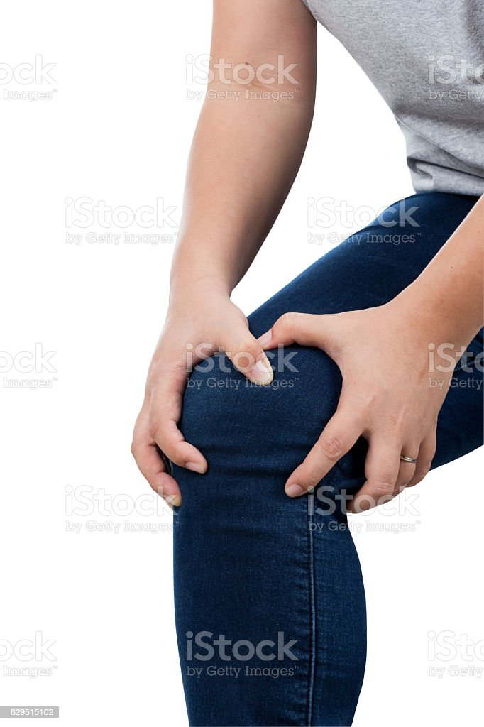 woman with knee pain. stock photo