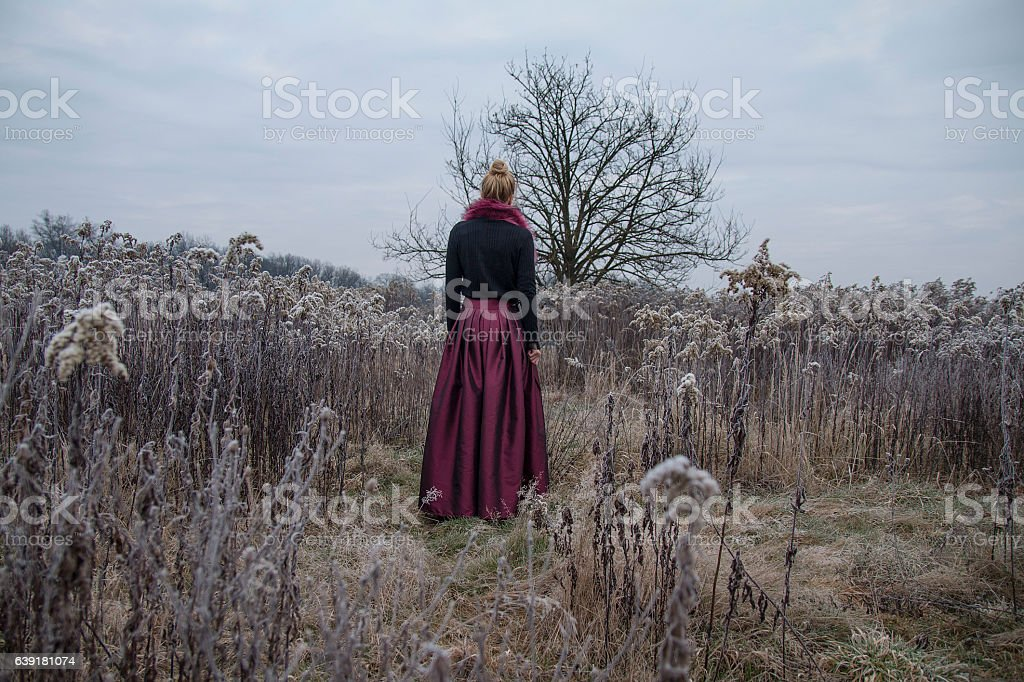 Woman with lantern on the meadow stock photo