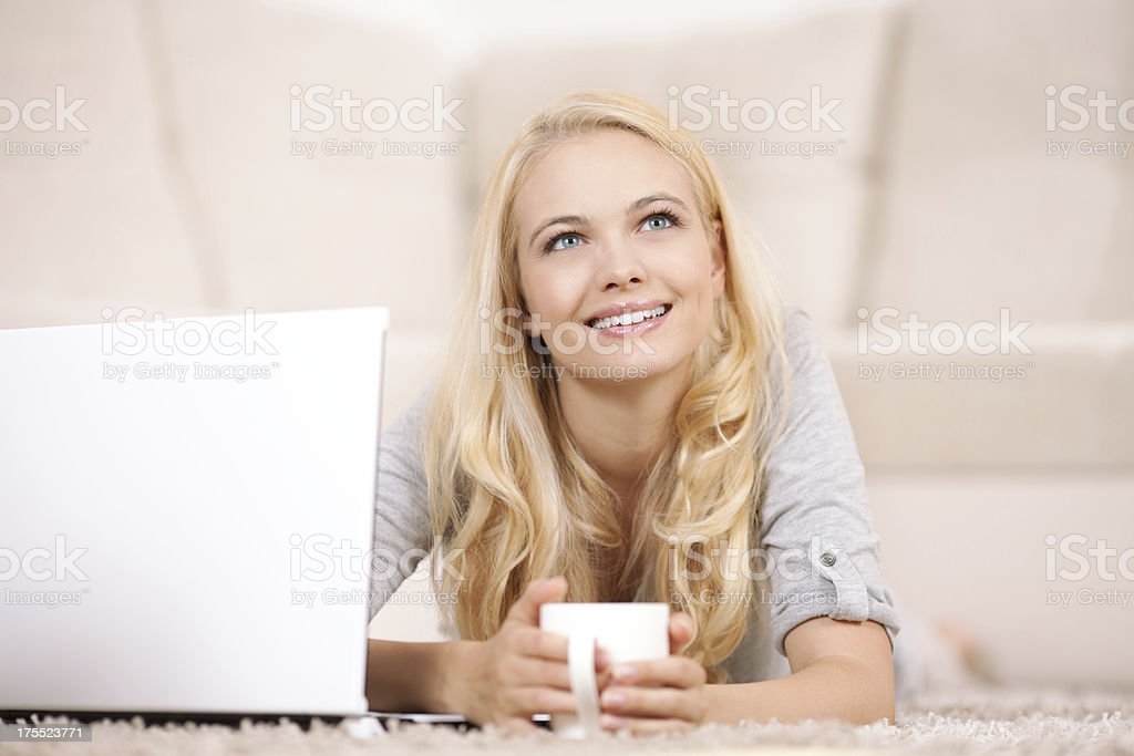 Woman with laptop at home royalty-free stock photo