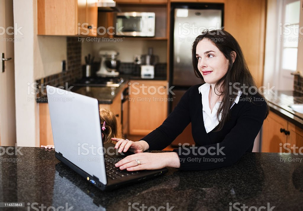 Woman with laptop computer royalty-free stock photo