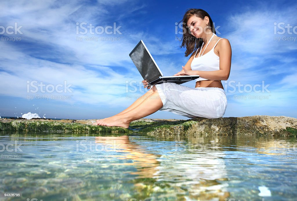 Woman with laptop computer. royalty-free stock photo