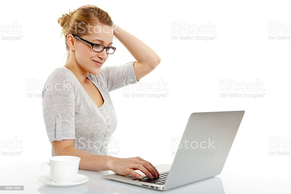 Woman with laptop isolated on white royalty-free stock photo
