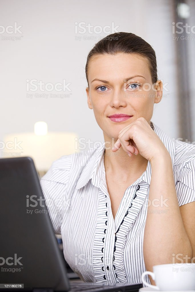 Woman with laptop royalty-free stock photo