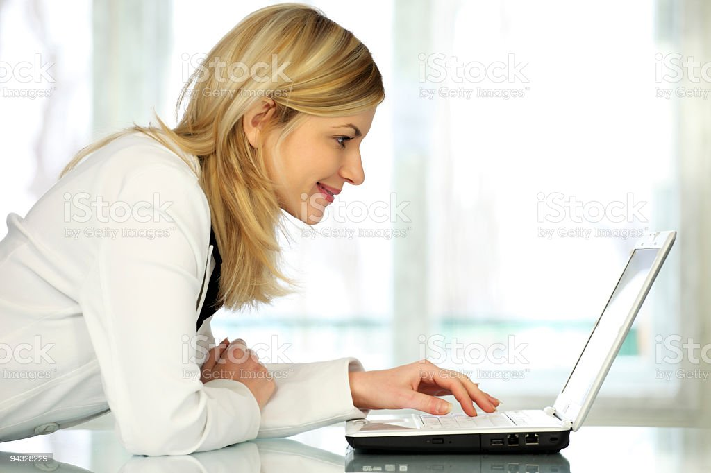 Woman with laptop. royalty-free stock photo