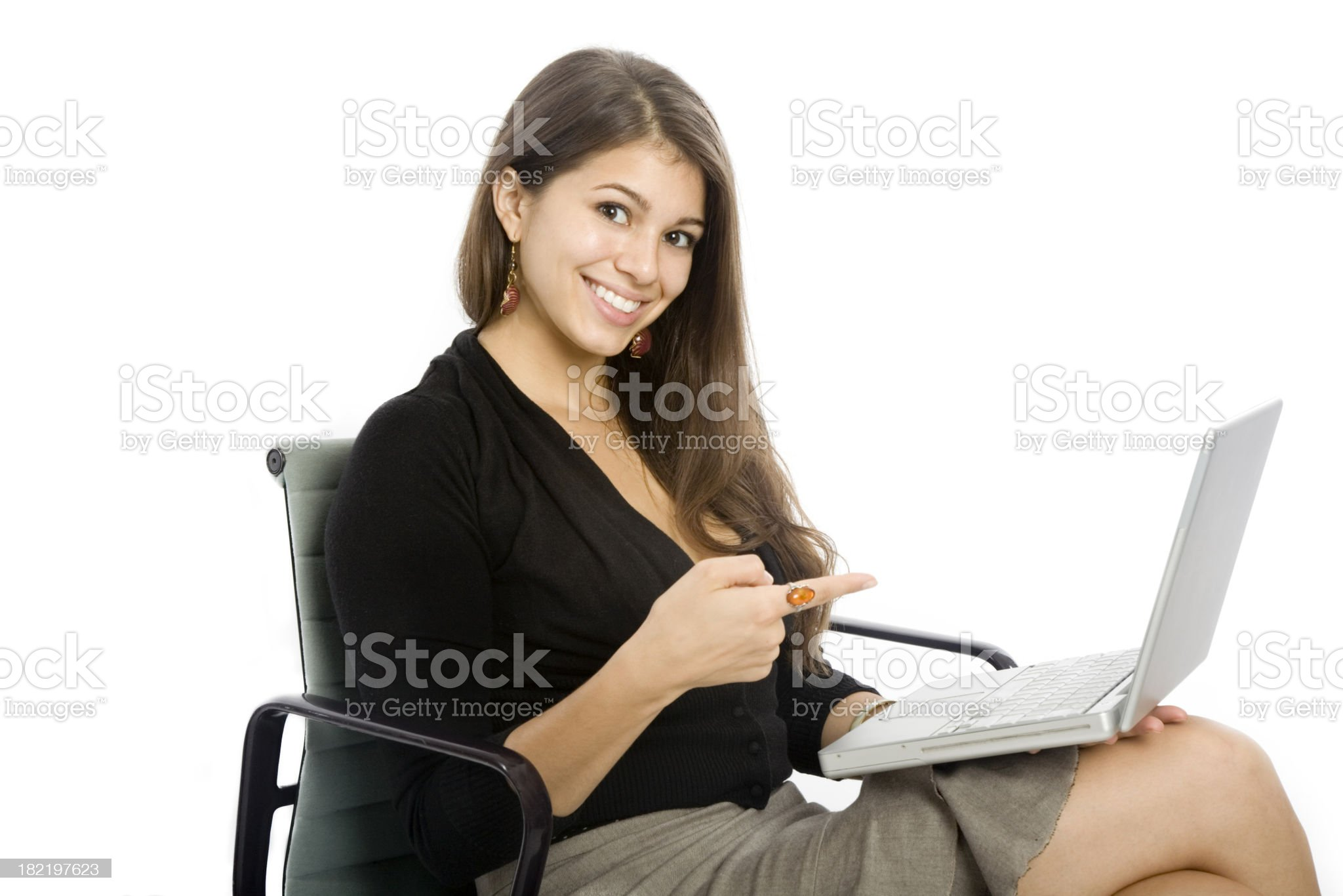 Woman with Laptop Pointing royalty-free stock photo