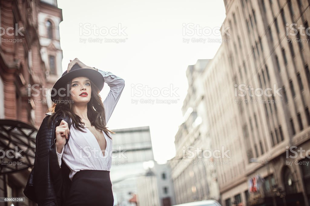 Woman with leather jacket stock photo
