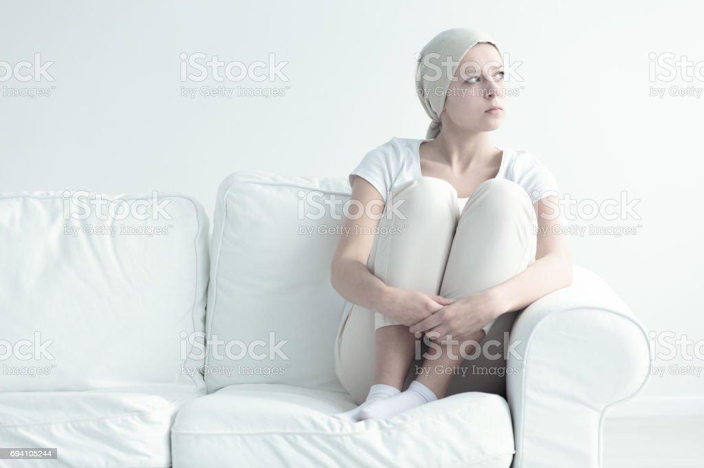 Woman with leukemia stock photo