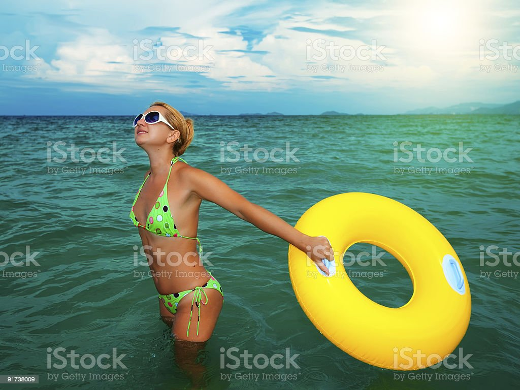 Woman with life buoy royalty-free stock photo