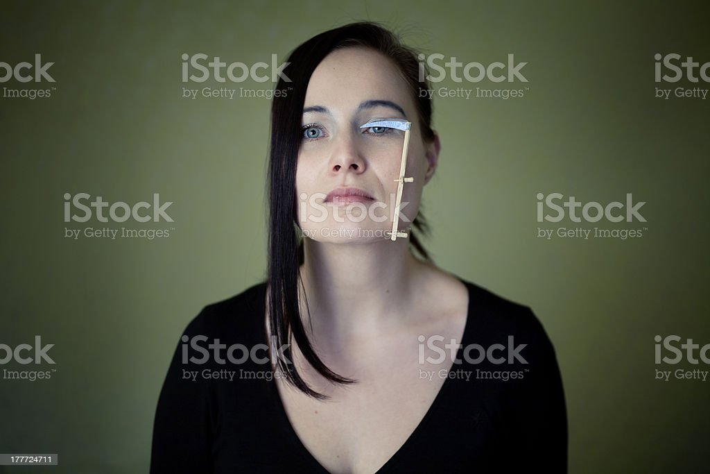 Woman with little scythe royalty-free stock photo