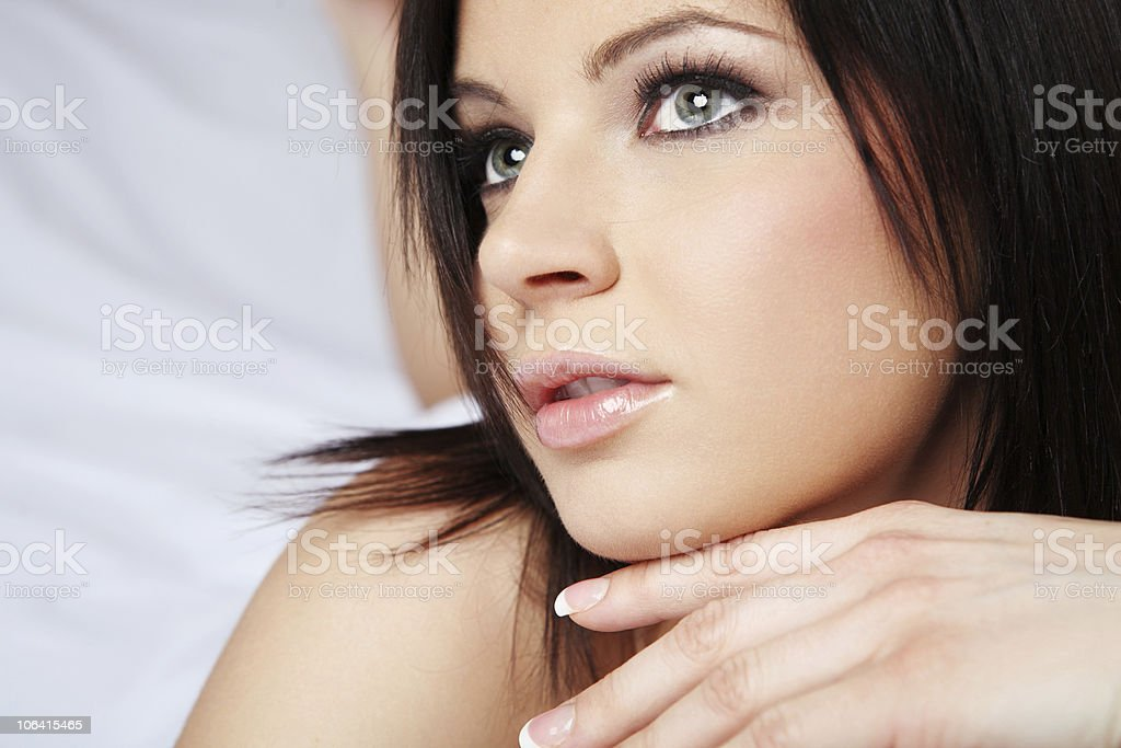 Woman with long black hair. royalty-free stock photo