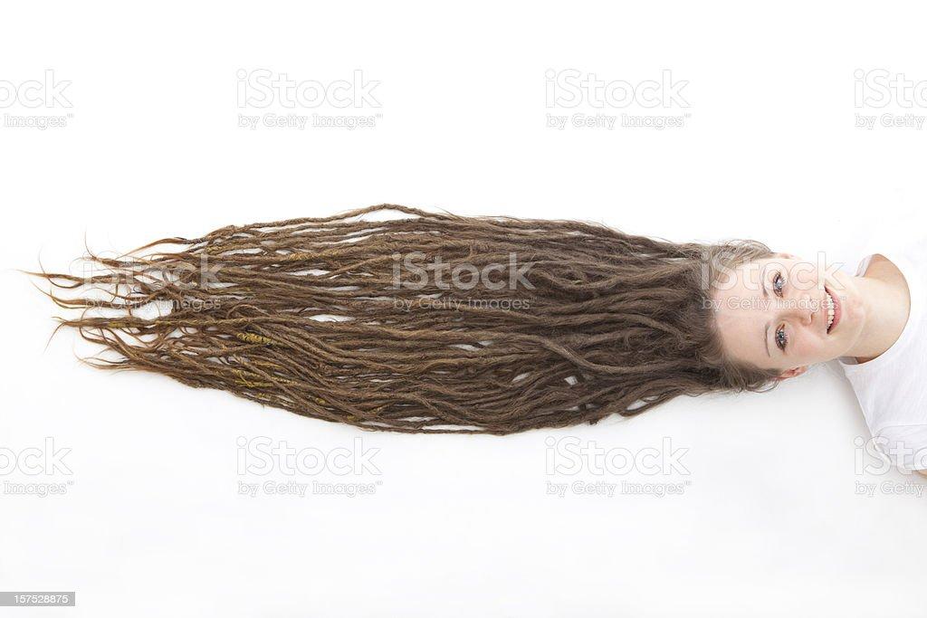 Woman with long dreadlocks stock photo