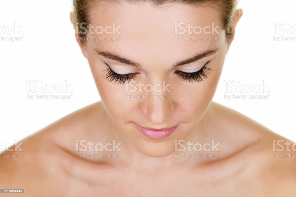 Woman with long eyelashes stock photo