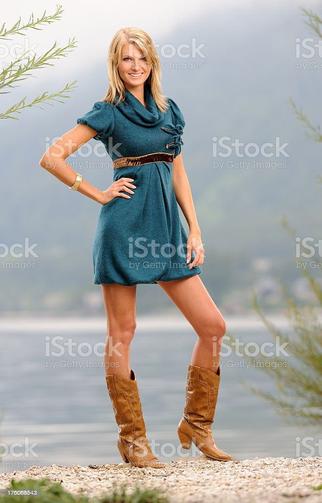 Woman with Long Hair enjoying the perfect summer day (XXXL) royalty-free stock photo