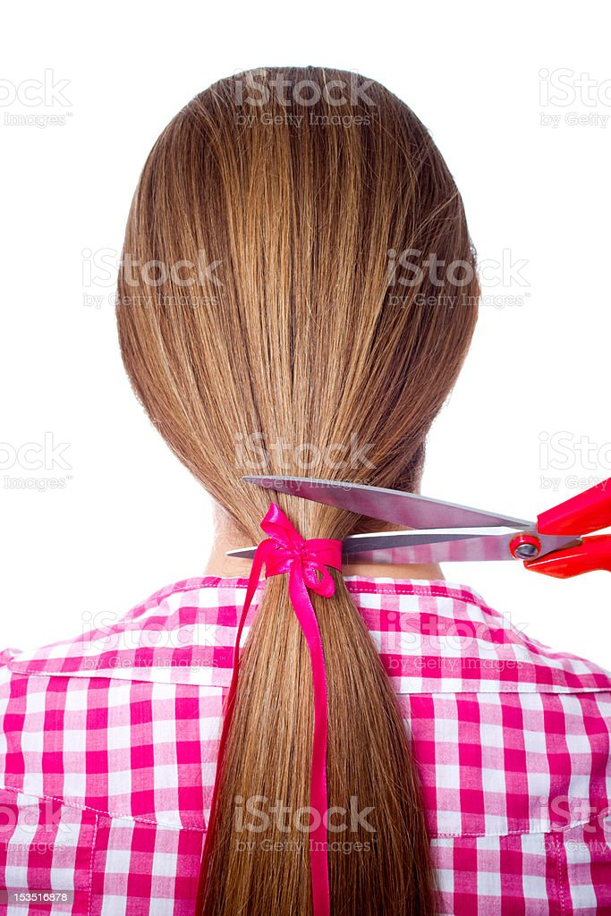 woman with long hair stock photo
