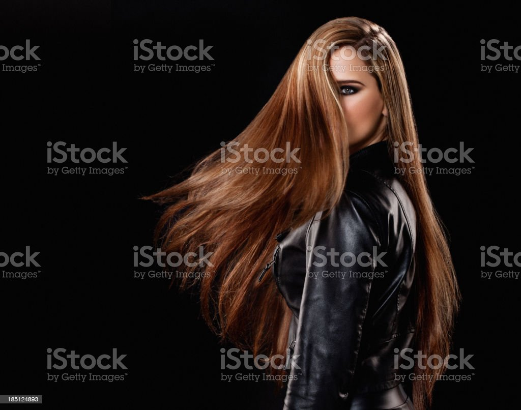 woman with long hair turning royalty-free stock photo