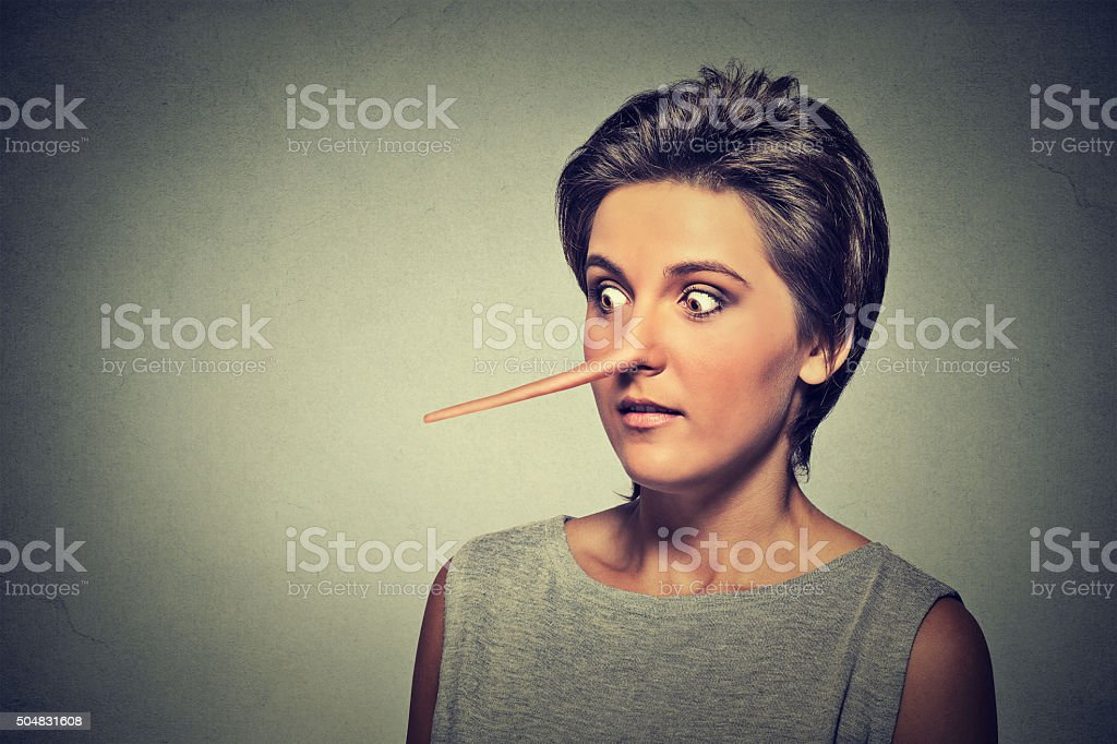 Woman with long nose isolated. Liar concept stock photo