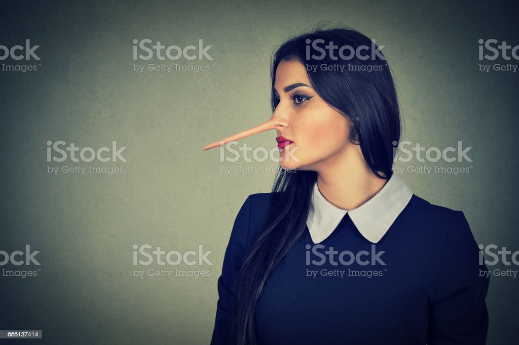 Woman with long nose stock photo