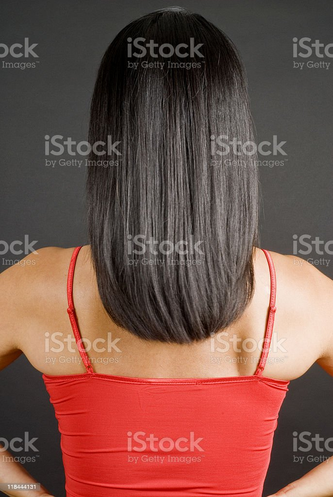 Woman with Long Straight Black Hair royalty-free stock photo