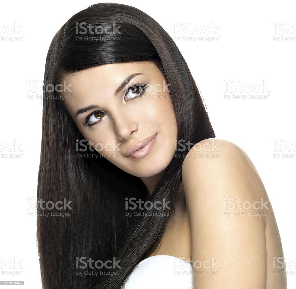 Woman with long straight hair stock photo