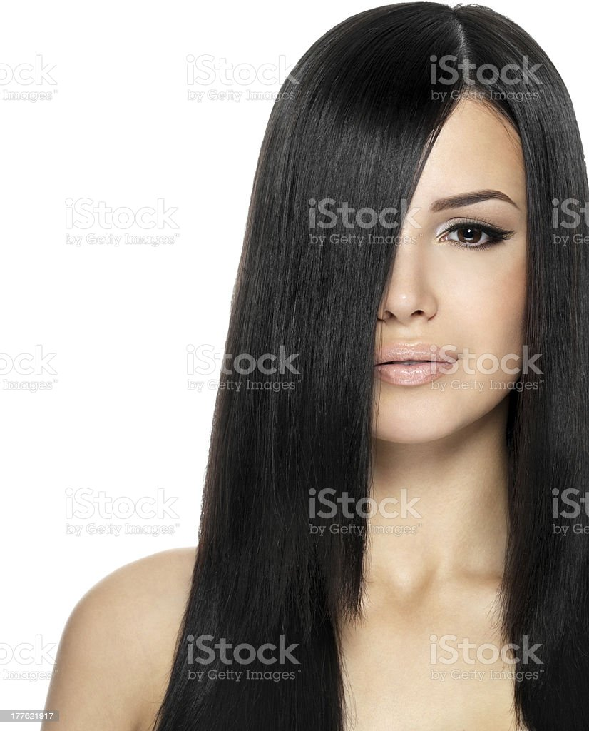 Woman with long straight hair royalty-free stock photo