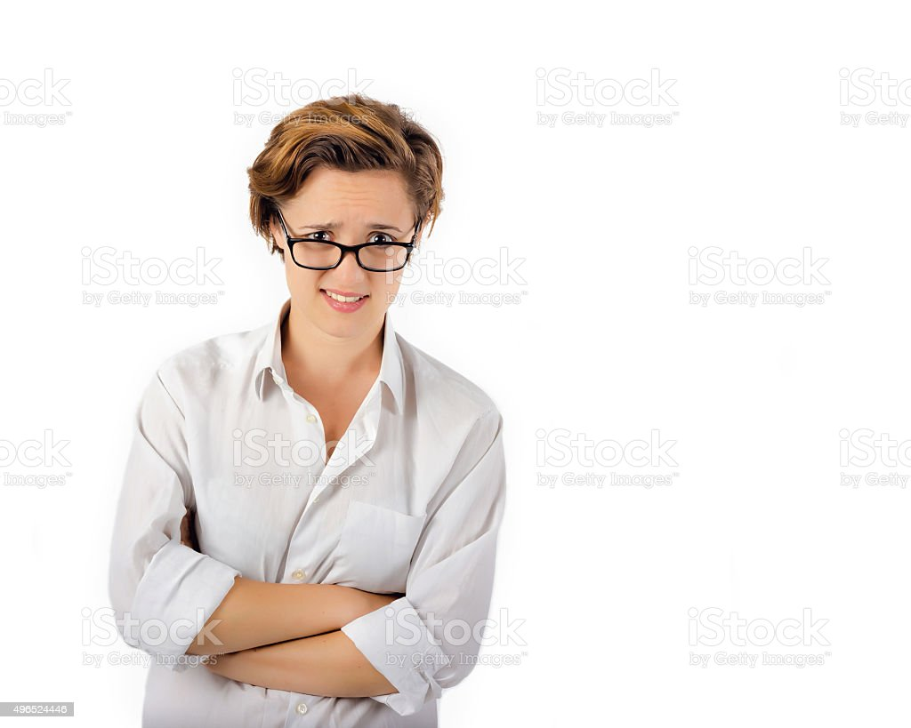Woman with look of disapproval. Confused, questioning expression stock photo