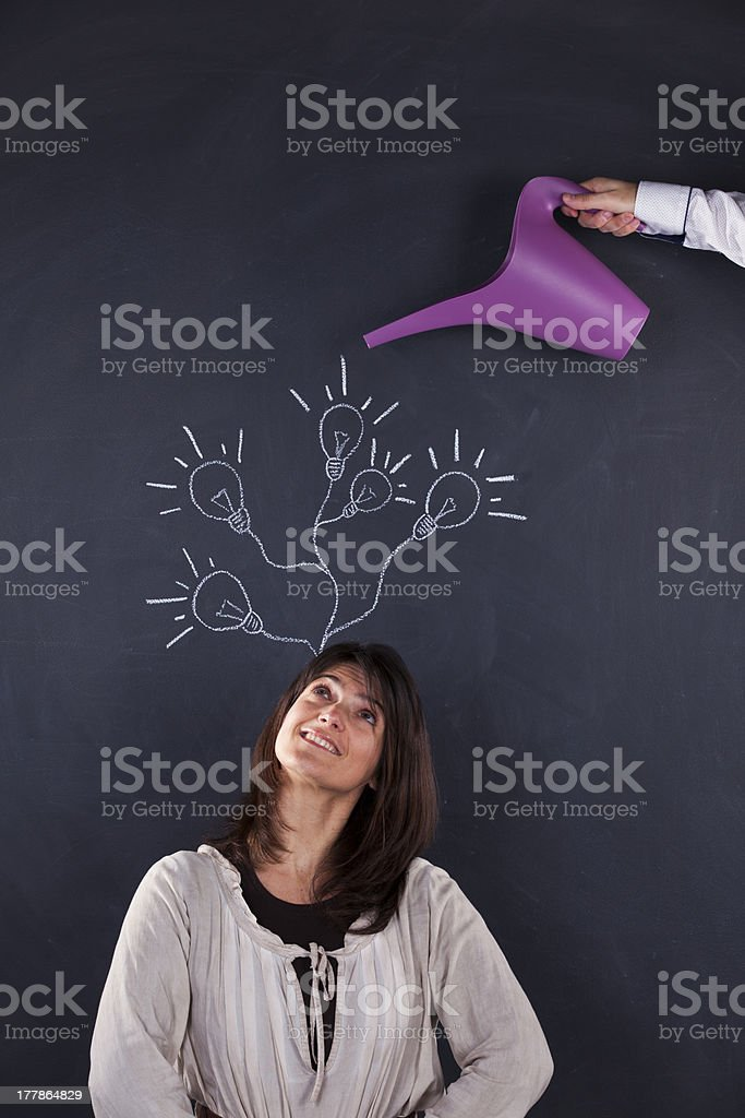Woman with lots of creativity royalty-free stock photo
