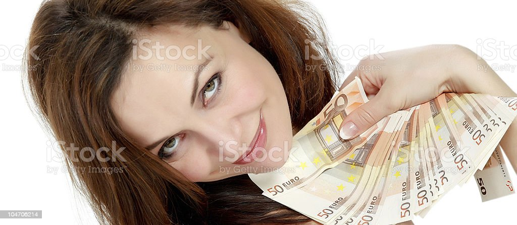 woman with lots of money stock photo