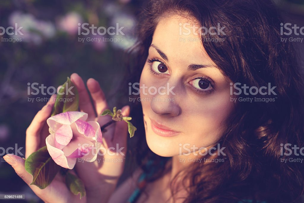 Woman with magnolia royalty-free stock photo