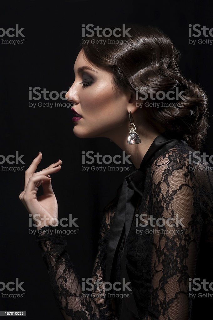 Woman with makeup and hairstyle royalty-free stock photo