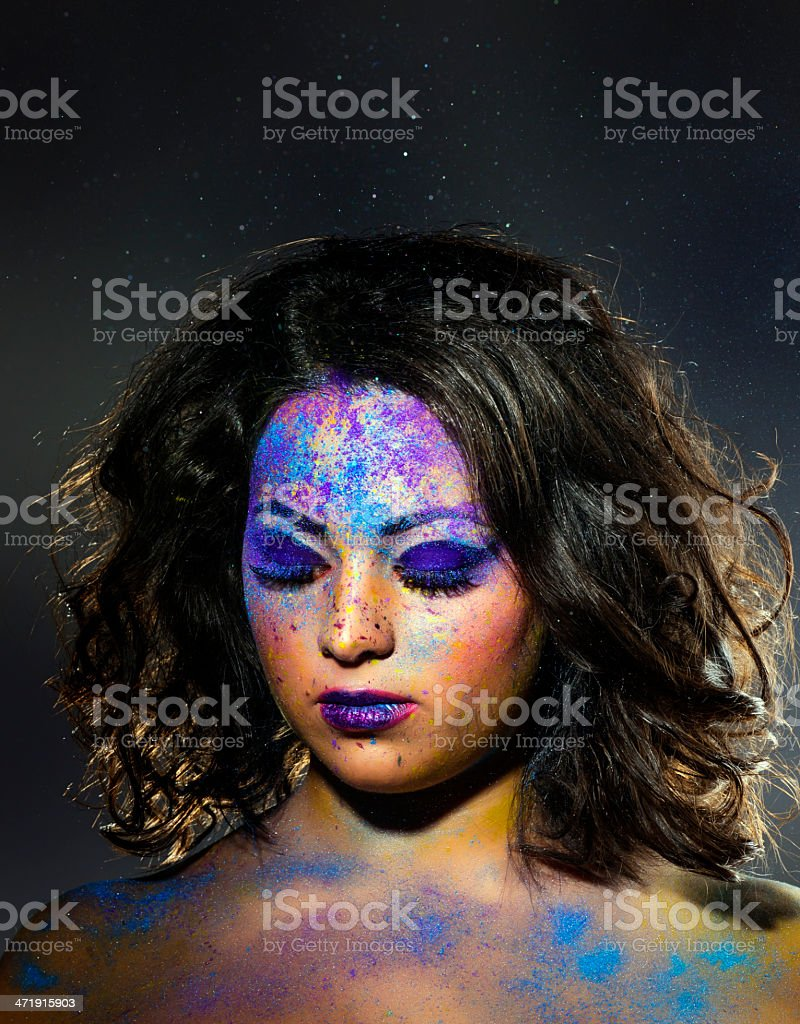 woman with makeup royalty-free stock photo
