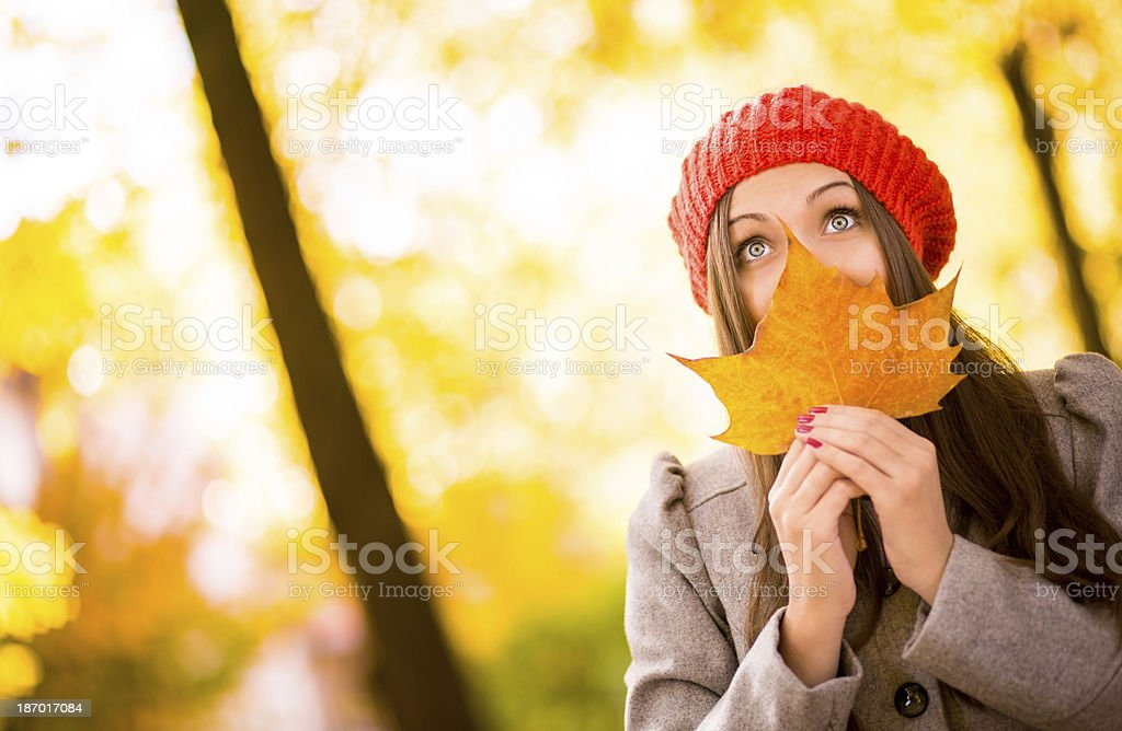 Woman With Maple Leaf royalty-free stock photo