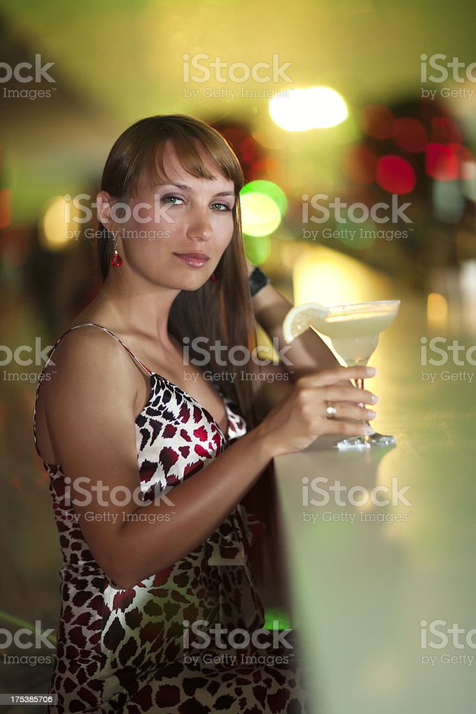 Woman With Margarita Coctail royalty-free stock photo