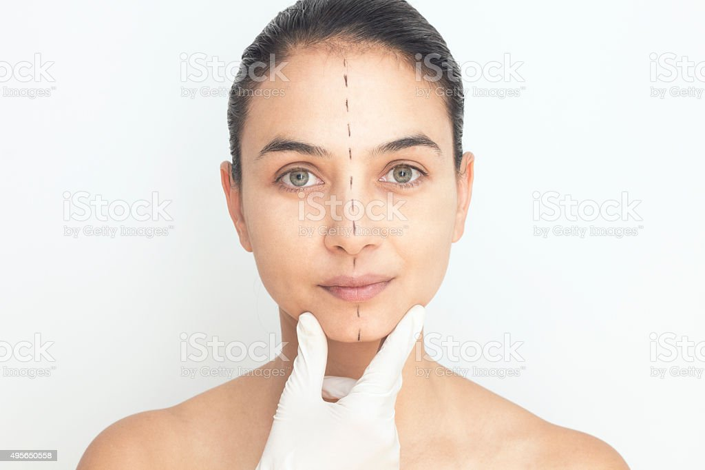 Woman With Marks Face stock photo