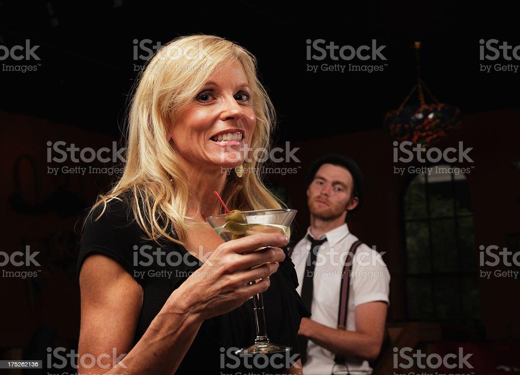 Woman With Martini Flirting royalty-free stock photo