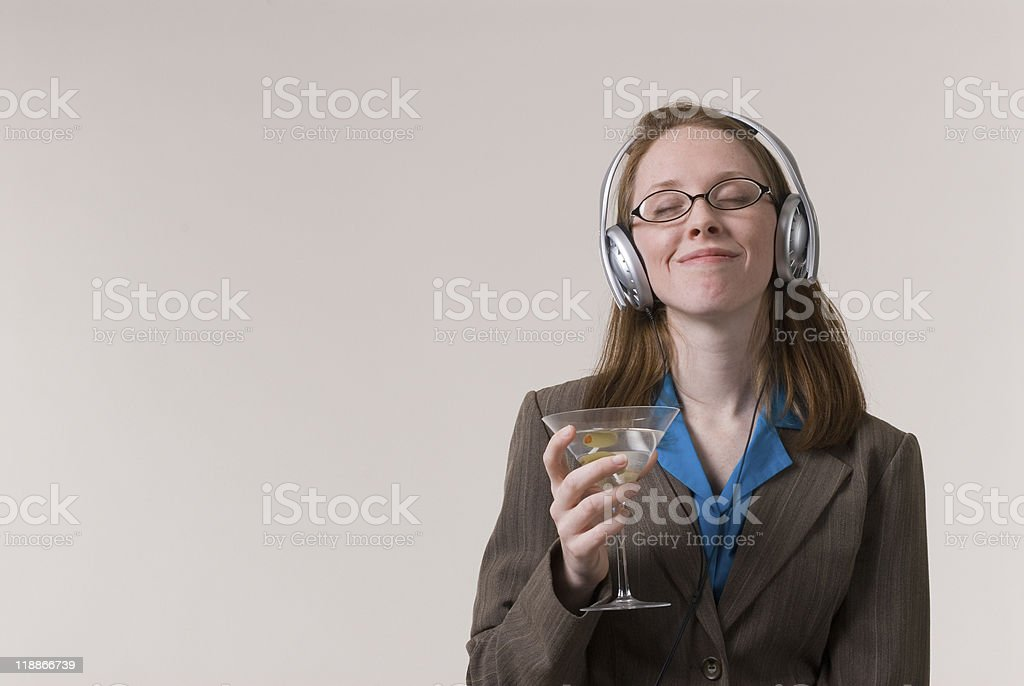 woman with martini stock photo