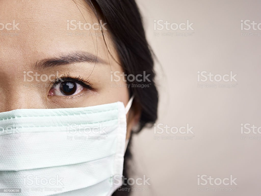 woman with mask stock photo