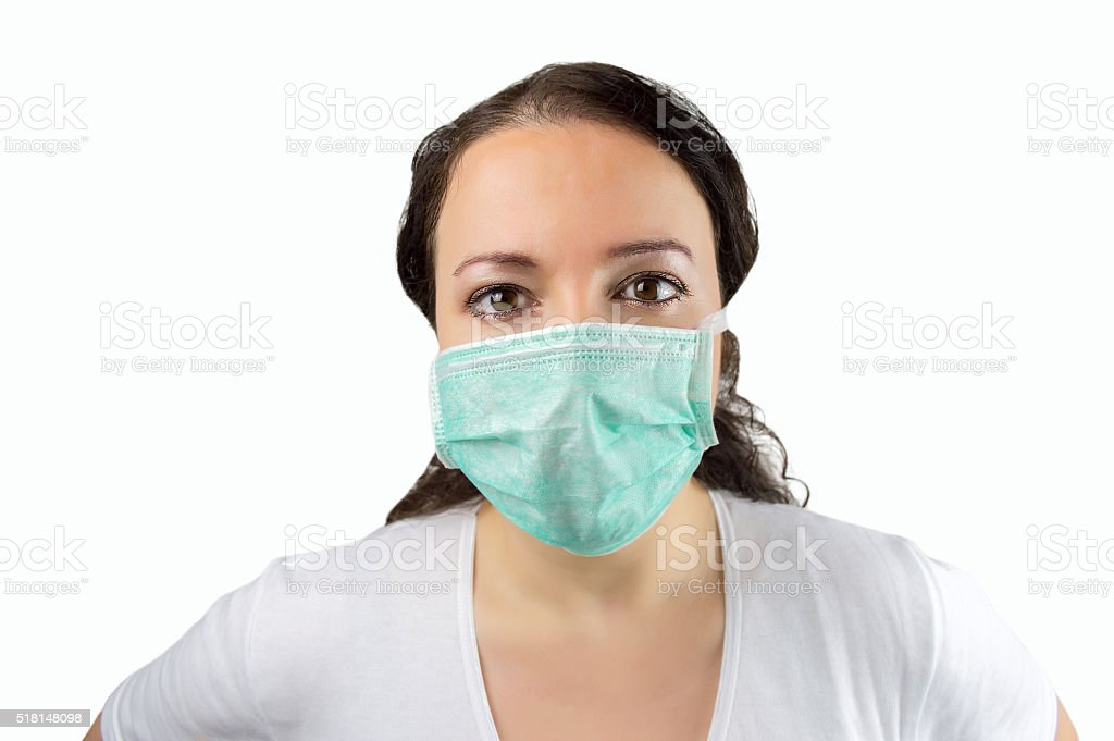 woman with mask to protect of virus stock photo