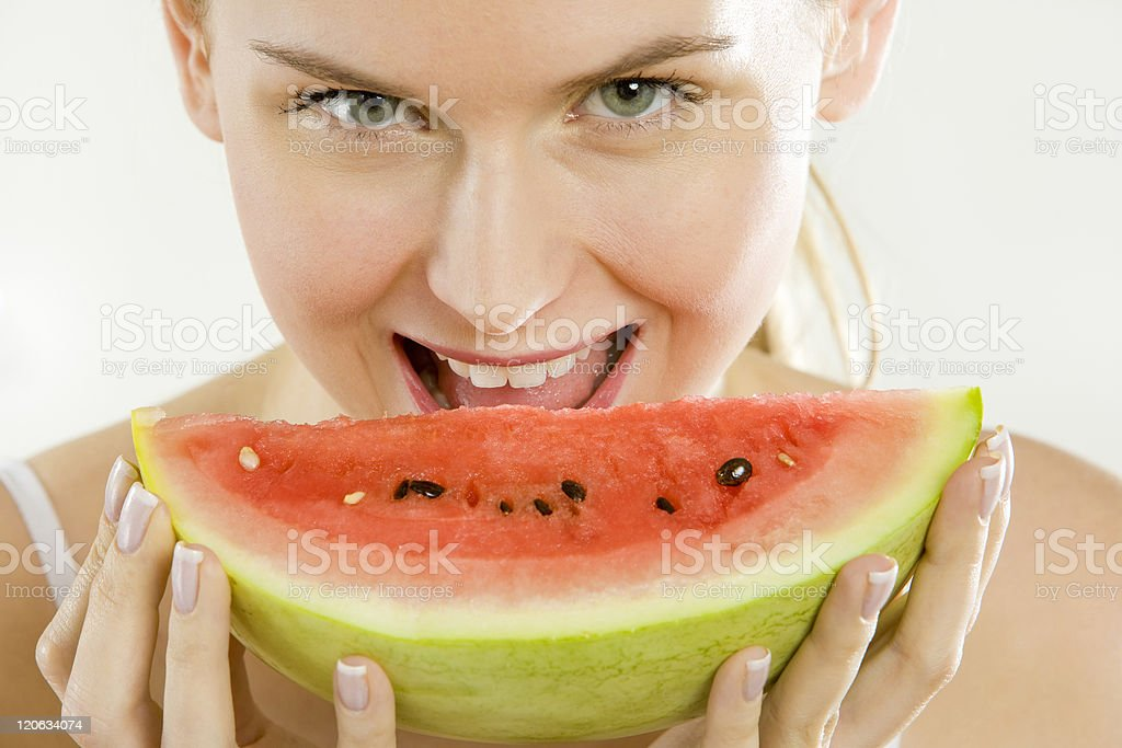 woman with melon royalty-free stock photo