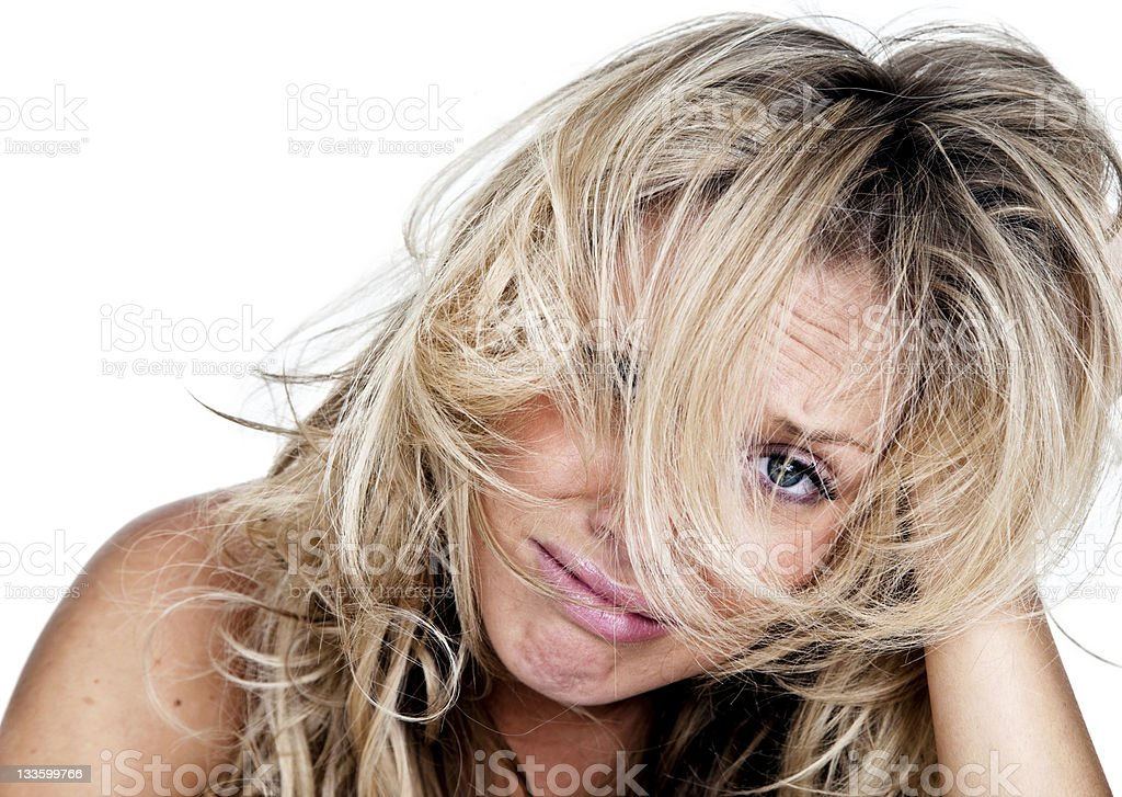 Woman with messy hair having a bad day royalty-free stock photo