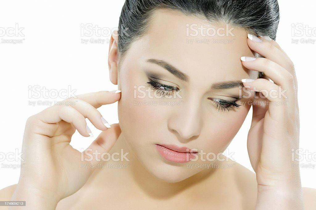 woman with migraine royalty-free stock photo