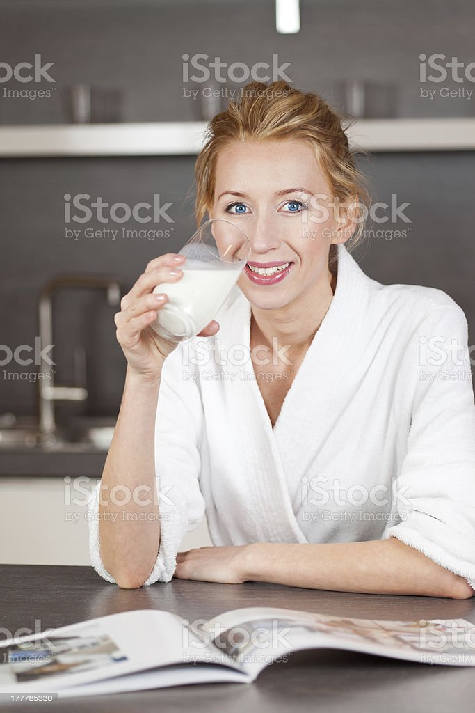woman with milk stock photo