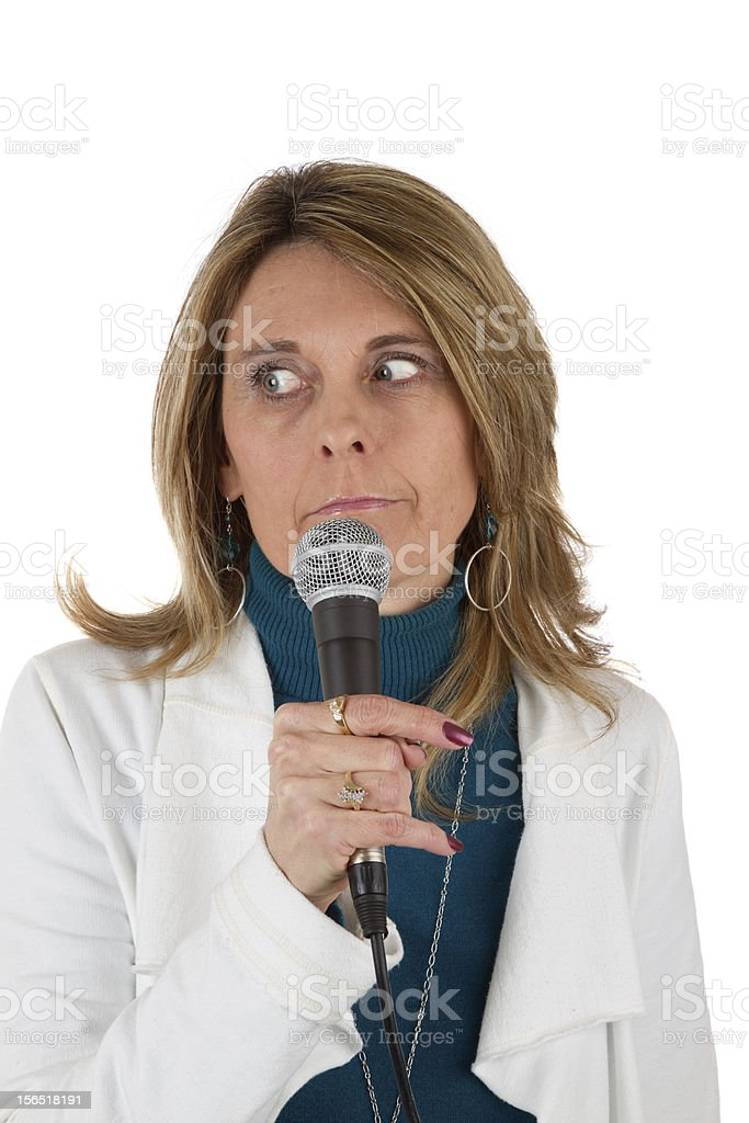 Woman with Mircophone royalty-free stock photo