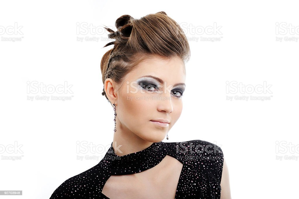 woman with modern hairstyle royalty-free stock photo