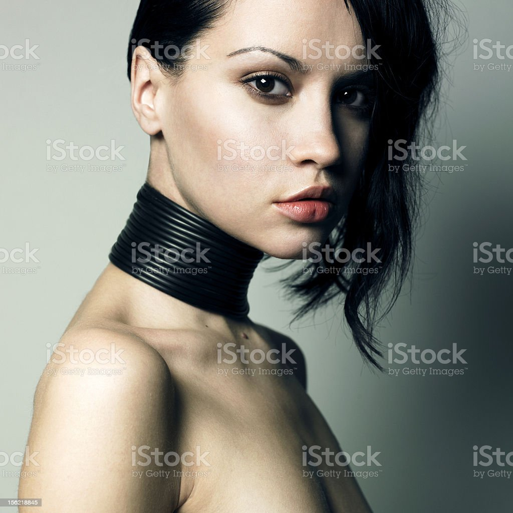 Woman with modern jewelry royalty-free stock photo